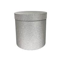 Блестящая серебряная Круглая коробка